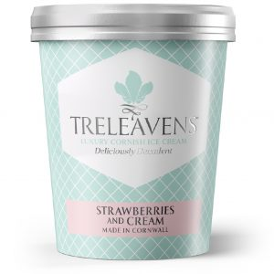 Treleavens Straberries and cream ice cream
